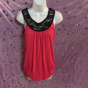 Medium Hot Pink Top with Lace